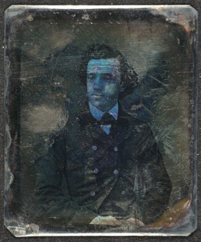 [John Sanford], 184-? / unidentified photographer. Photographic print : 1 item : daguerreotype ; 7 x 6 cm. Elihu Vedder papers, 1804-1969 (bulk 1840-1923). Archives of American Art.