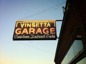 Vinsetta Garage's neon sign on Woodward